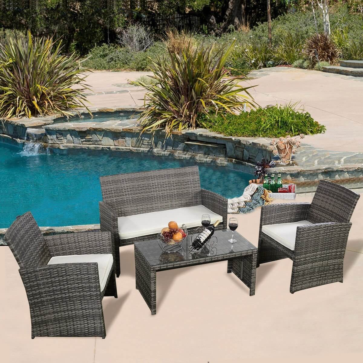 This lovely set of furniture has comfortable padded seats, strong metal frames, and a weaved rattan wicker. This combination makes these pieces both sturdy and comfortable. Your guests and family will be enjoying your backyard space in comfort with this set.