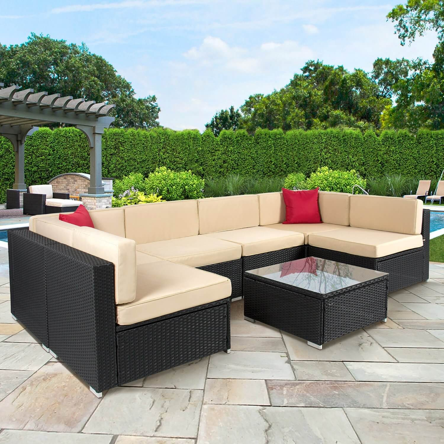 This patio set looks good enough to be a couch, except it was built to be outside and is durable enough to withstand it. The sectional outdoor sofa and matching table is mid priced and fantastic to look at.