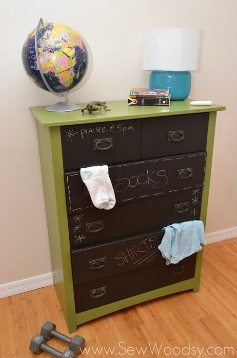 This clever dresser solution lets teens write notes on their dresser or label the drawers accordingly. This is a really neat way to take an old dresser and transform it into a modern piece of furniture your teen will love.