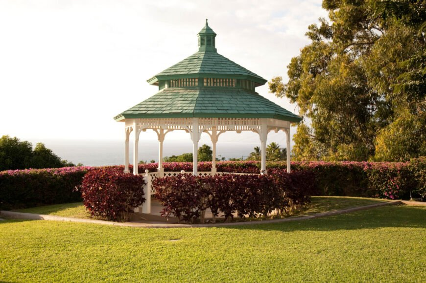 Hedges and shrubs are a fabulous companion to gazebos. They can exemplify the elevated feel that gazebos can cultivate.
