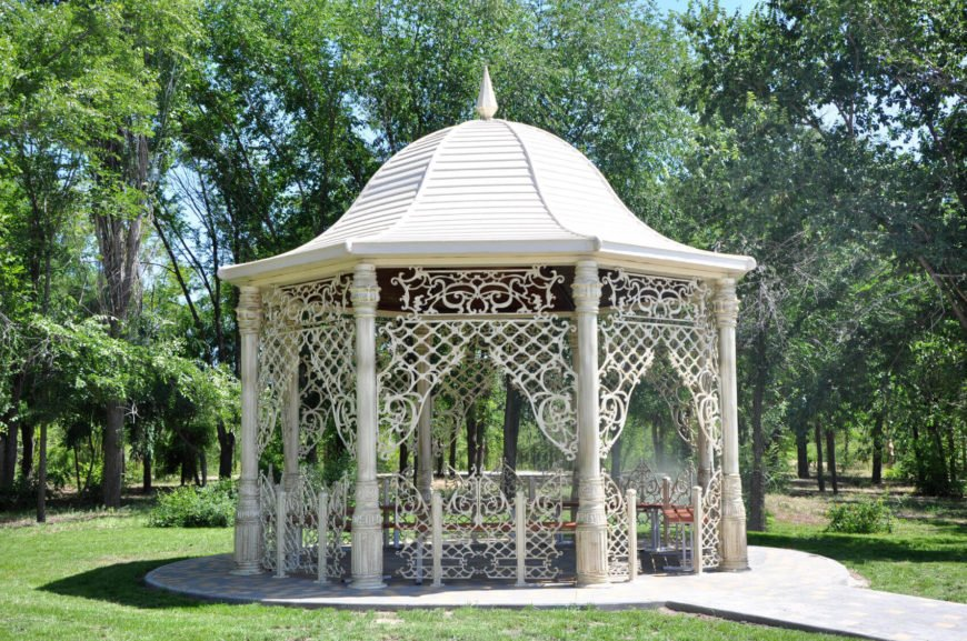 Gazebos can range from simple to very complex. This gazebo is on the higher end of complexity with many design elements that make this space look high end and elegant.