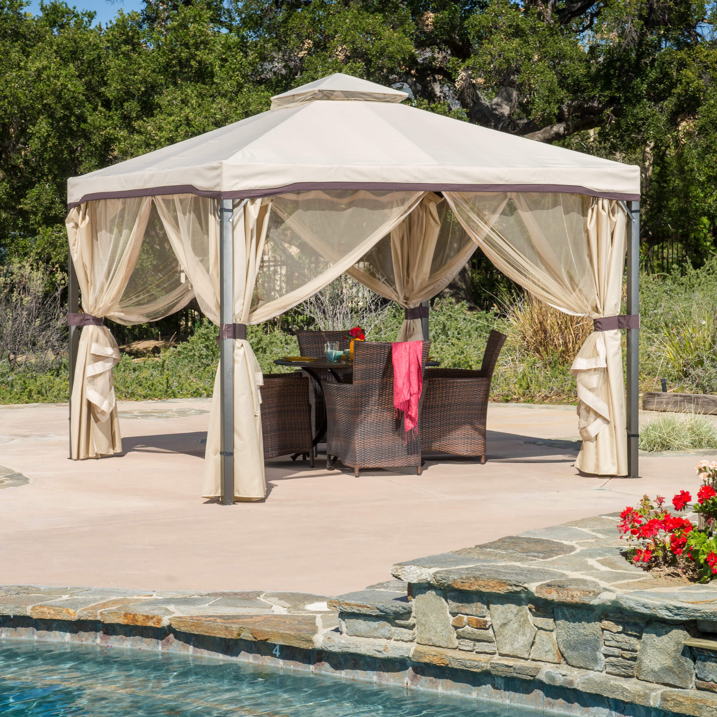 Mobile gazebos are great for any occasion. If you want, you can set them up poolside on a hot day to make a nice shady spot. When you want the gazebo gone, just take it down or move it somewhere else.