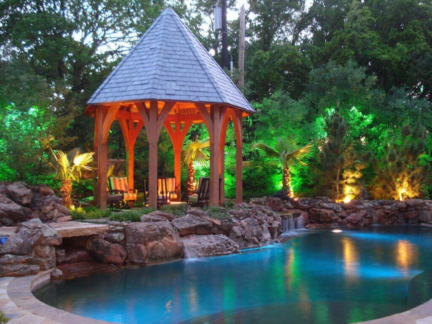You can use lighting to accentuate your hardtop gazebo. Develop an interesting and dramatic lighting profile to make your gazebo stand out at night.