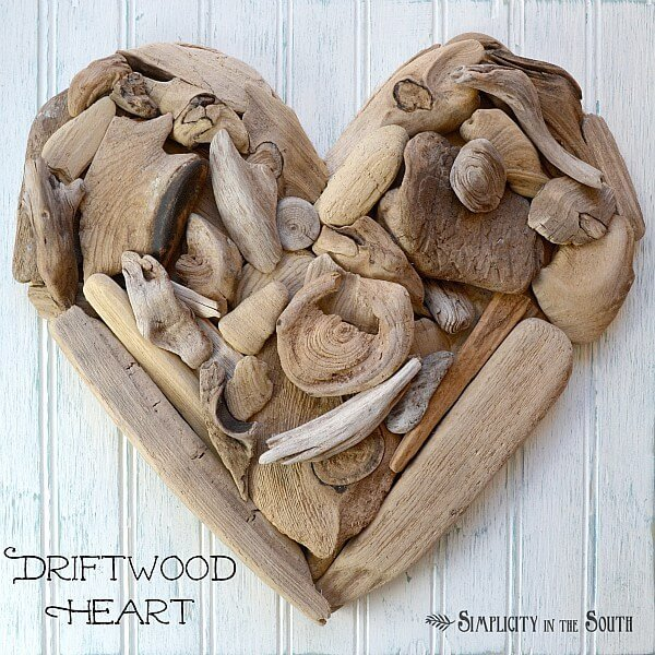 This simple heart wall decor can be created simply by collecting the odd bits of driftwood from some of your favorite beaches. Create a piece of home decor that will hearken back to some of your favorite memories!