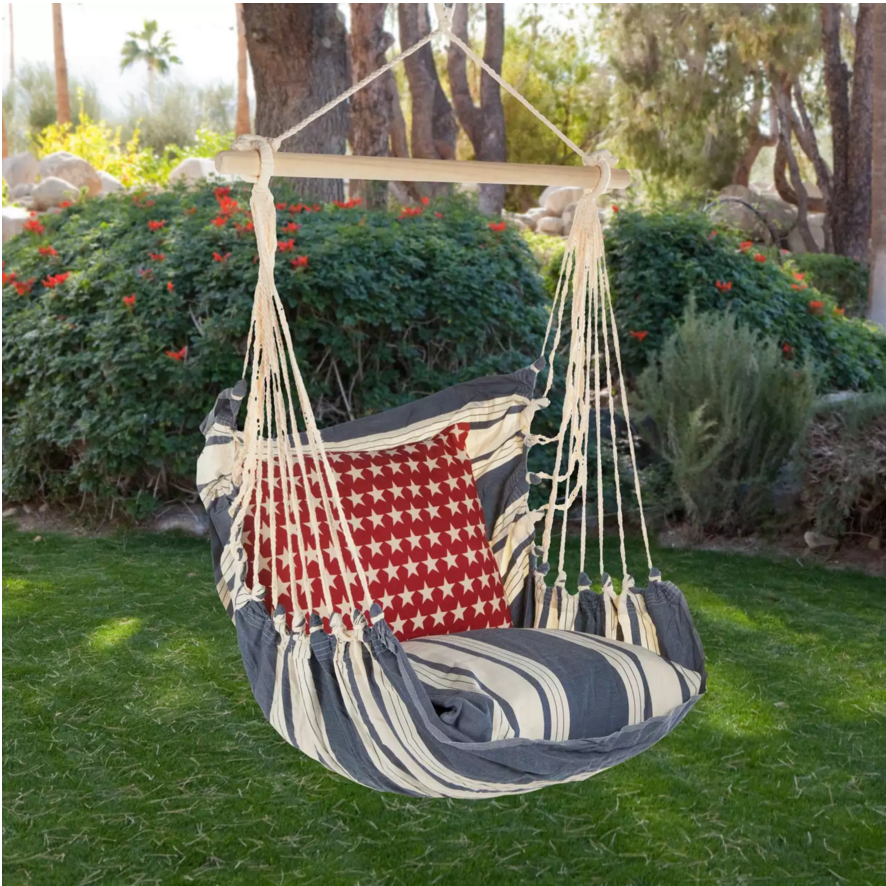 This padded hammock-like chair is cozy and fun. The extra padding on the seat ensures that there is added comfort and that you are still able to swing freely, suspended above the ground.