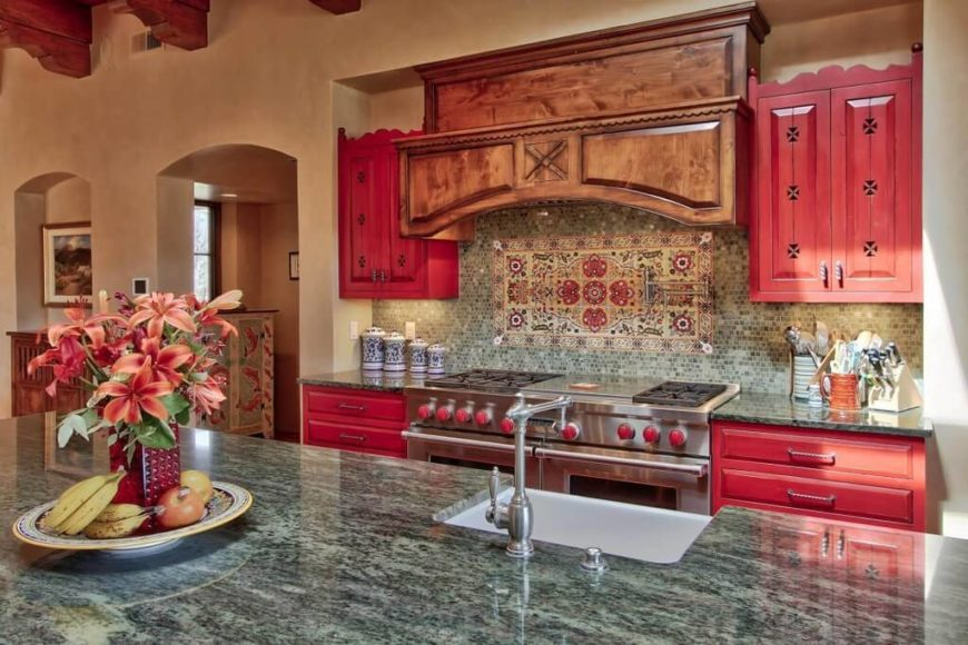 This Mediterranean kitchen uses a variety of vibrant colors to build a bold and interesting color palette. While these colors are not typical of a Mediterranean design, they work well when paired with rich earth tones and teal blues and greens.