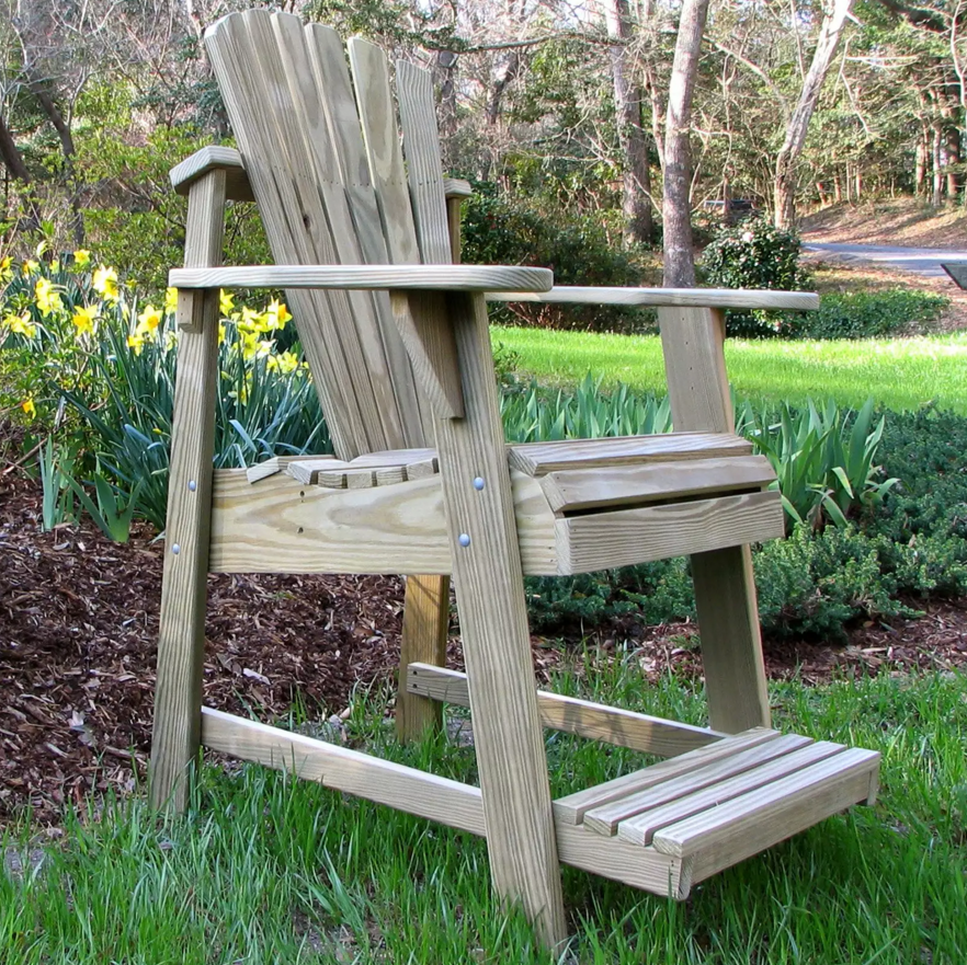 This version of the adirondack chair is set higher and has an accompanying footstool to maximize comfort. The taller build of this chair is great for spaces with tall railings, or when there are other things that may disturb the view of your surroundings.
