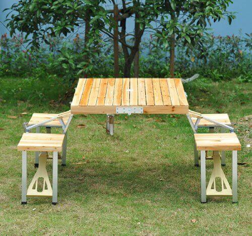 If you are on the go or need a picnic table that is easily removed and stored, this model is your friend. It is simple to transport and on the lower end of cost. The four seated picnic table has the ability to fold up into a small suitcase shape for storage or transportation.