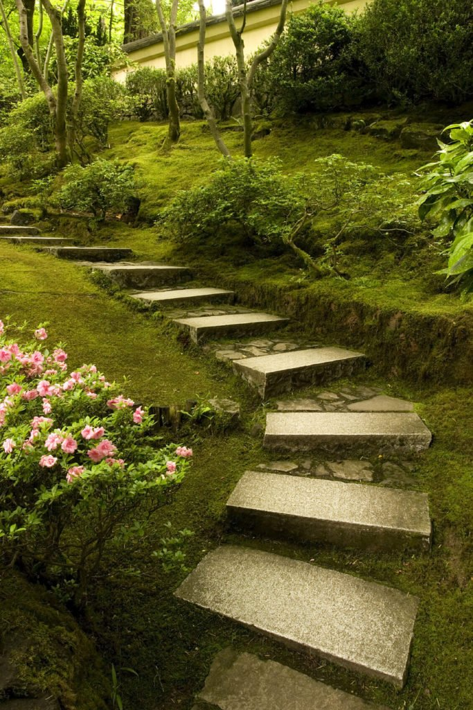 These stone steps have both finely carved elements and rustic rough cut portions. This blends the two kinds of stone into an interesting design. The fine cut stone provides a good foothold that will help reduce tripping, while the rough cut stone brings character.
