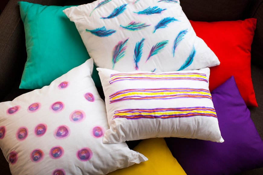 These adorable throw pillows are colorful and look great in any room, but particularly in a teenage girl's bedroom. No one would ever guess that you made them with sharpies!