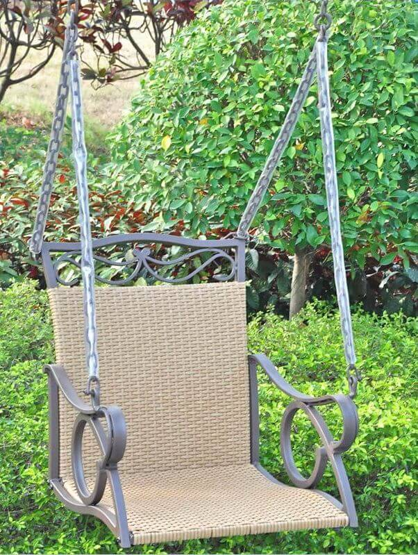 Here is a simple one person swing that is suspended like a porch swing. In this chair, a single person can swing back and forth on the chains suspended from a sturdy structure.