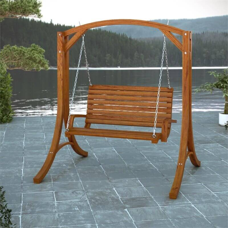 This mid range yard swing has a lovely wooden frame and is hung from rugged and sturdy chains. Place this swing on a patio or under a shady tree and gently swing your worries away.