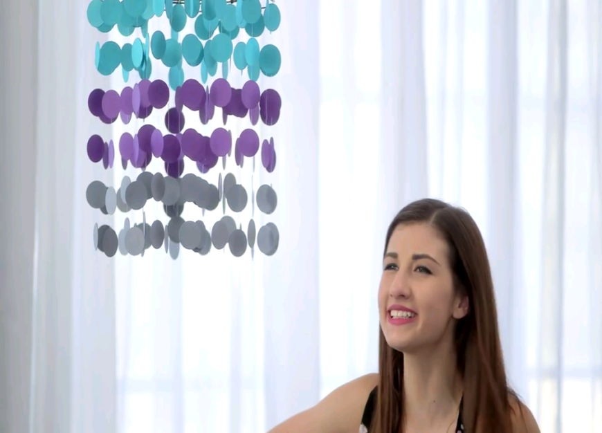 This perfectly colorful paper mobile is a great way to add color to a dorm room or a teenager's bedroom without a whole lot of mess.