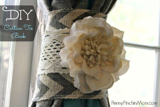 This beautiful DIY will have your curtain tiebacks looking spiffy! The project utilizes popular fabrics like burlap and lace to create a finished product that will fit any farmhouse or shabby chic style home.