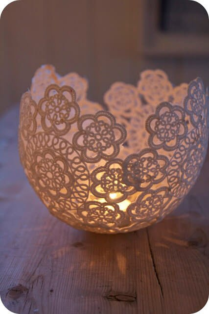 76. DIY Doilie Candleholder - The Excited Bride 76 DIY room decor with balloons The Excited Bride This adorable and elegant candleholder is the perfect addition to a dining table. We suggest using flameless luminaries to reduce any accidental fire risks!