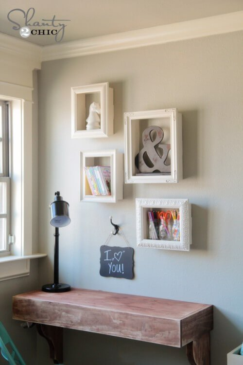 This easy DIY room décor tutorial transforms old picture frames into neat shelving that you'll want to hang everywhere in your home.