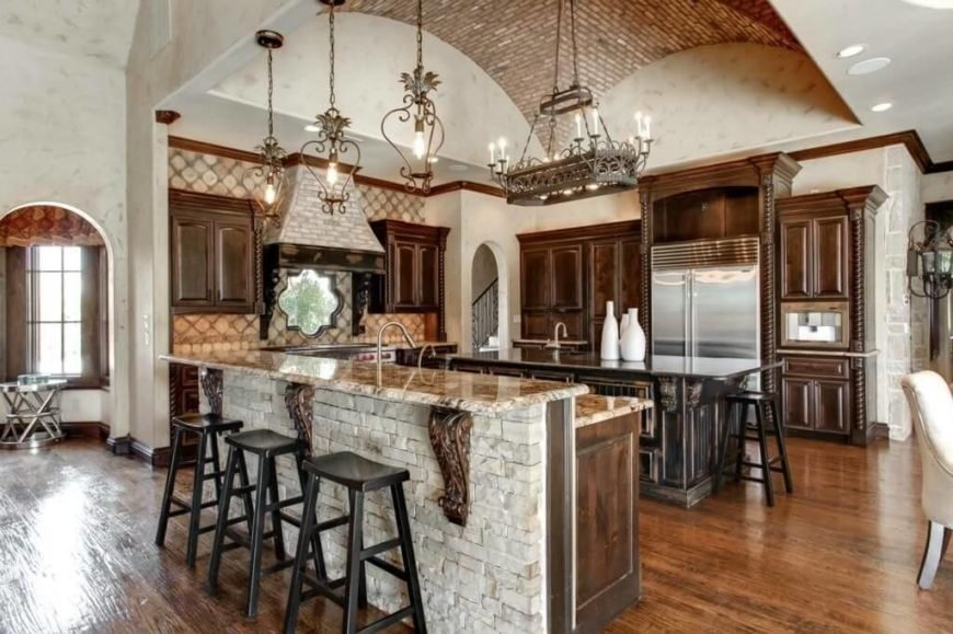 Tiled ceilings are not common in Mediterranean kitchens but they can be a great way to build texture and character.