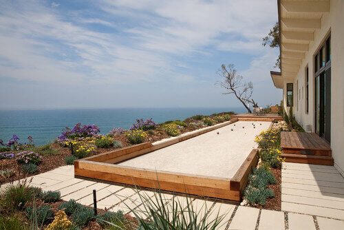 A bocce ball court is great for patios and decks. Because it is long and not wide it can fit in spaces where other kinds of courts cannot fit.