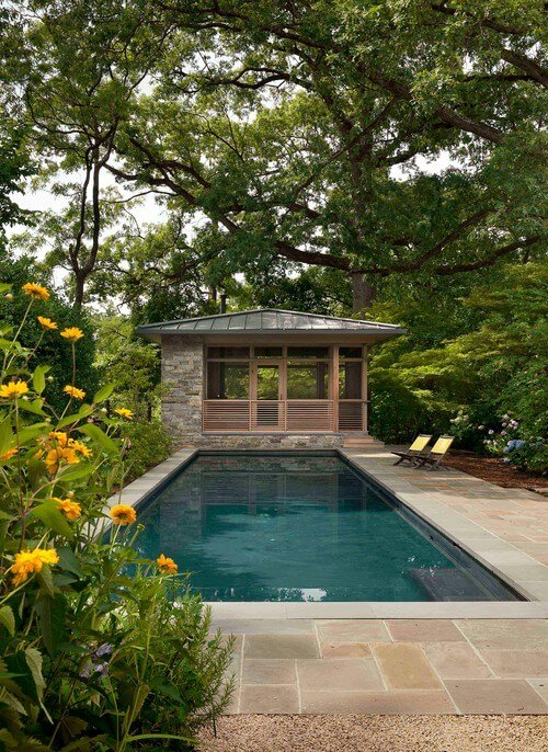 A closed in gazebo can serve as a great pool house where you can store extra items such as towels or pool toys.