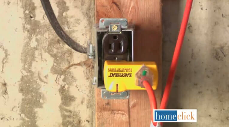 Your pipe cable can be plugged into the thermostat, which is of course plugged into an electrical outlet. This is a safe and effective way to keep the pipes from freezing while saving electricity.