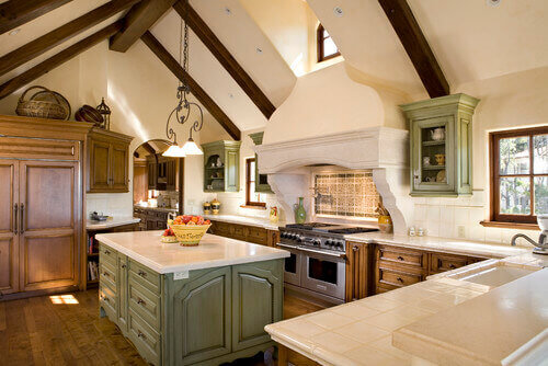 Using an accent color can give your kitchen a pop. Teal greens and blues work wonderful in Mediterranean design.Distressed and worn dusty colors also are wonderful.