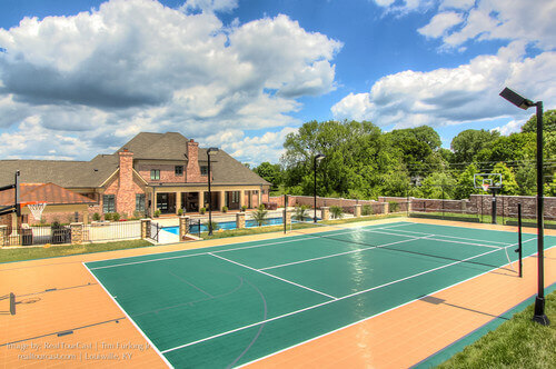 Placing a tennis court next to your pool can be an amazing plan. In mere moments you can go from playing a game of tennis to cooling off in your shimmering waters.