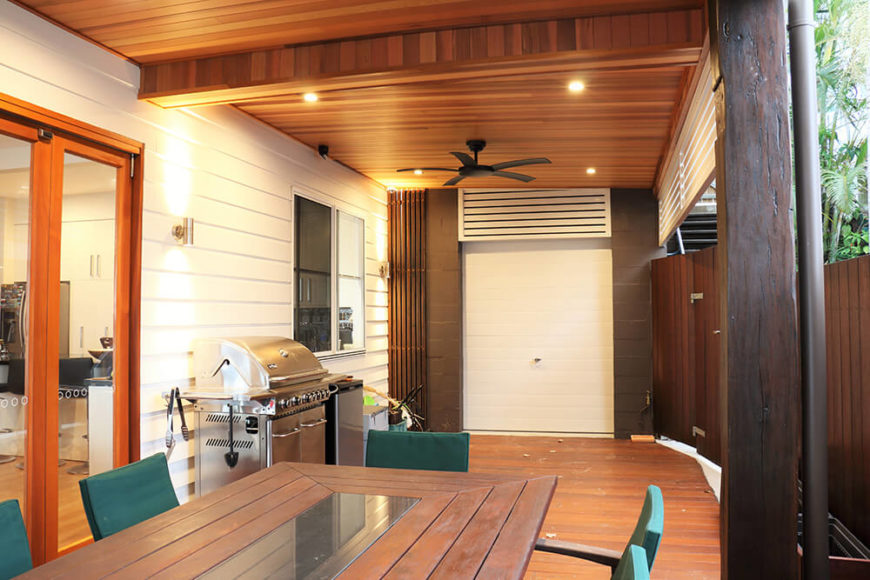 The rich cedar panels on both the flooring and ceiling of the deck provide an aesthetic warmth as well as help connect this exterior space to the interior rooms.