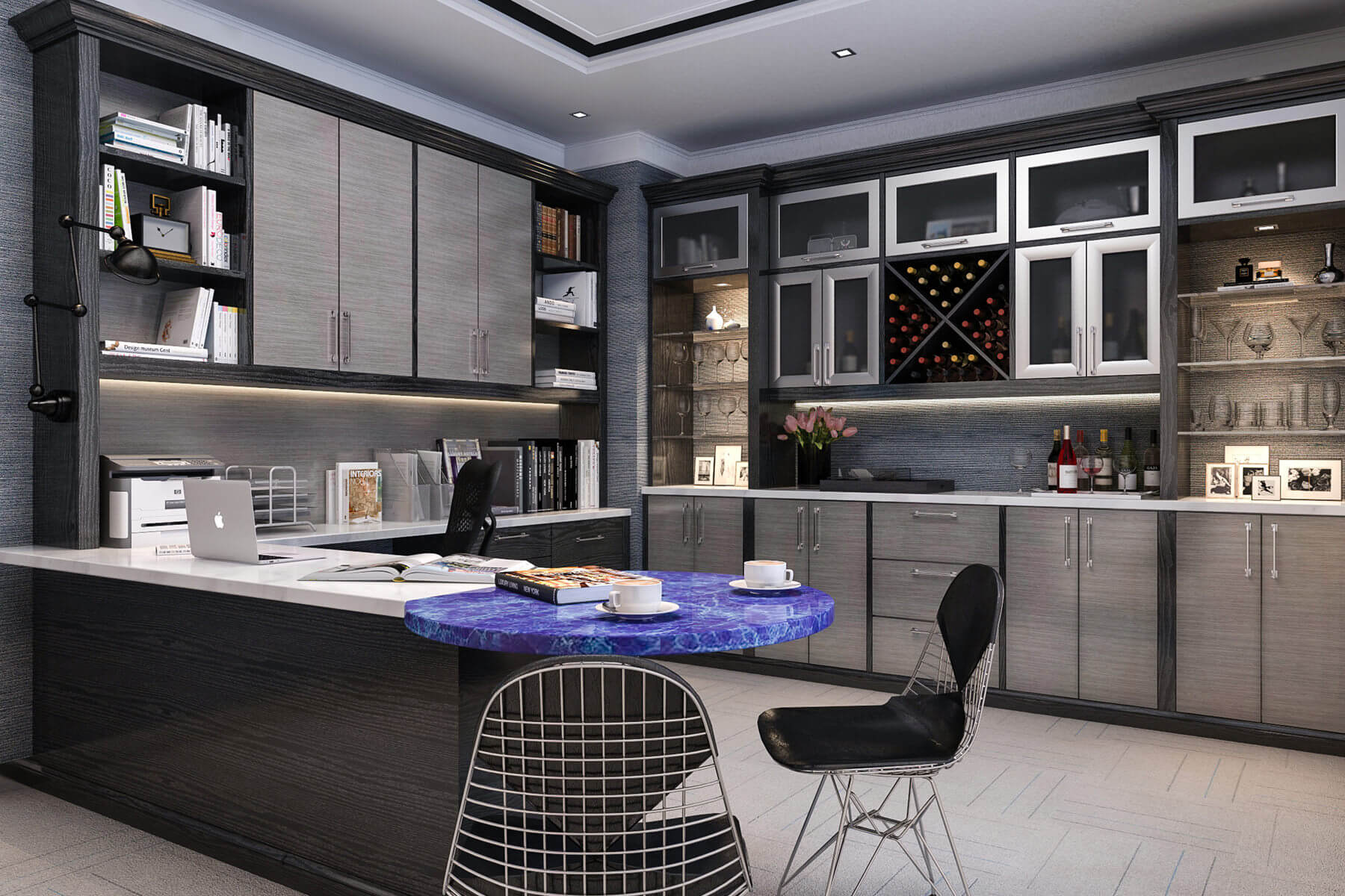 Here's a huge contemporary home office with loads of cabinetry as well as a wet bar.