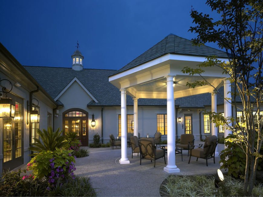 This tall patio gazebo is equipped with a light feature that gives the gazebo use long into the night, keeping your gatherings well lit. This is a perfect place to sit and socialize.