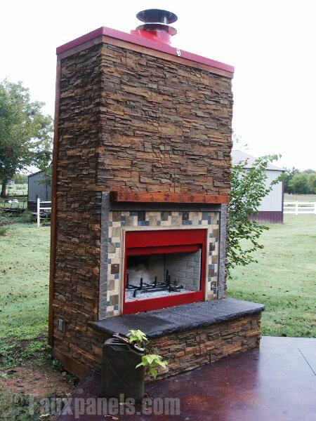 The sturdy faux stone paneling is even suitable for outdoor fireplaces. This large structure is perfect for an evening outdoors with family and friends.