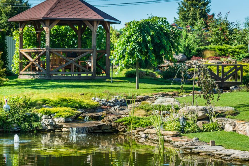 This gazebo has unfinished wood which gives the structure a rustic charm. The build is also reminiscent of farms. This gazebo can harken you back to old fashioned living as you sit back and relax.