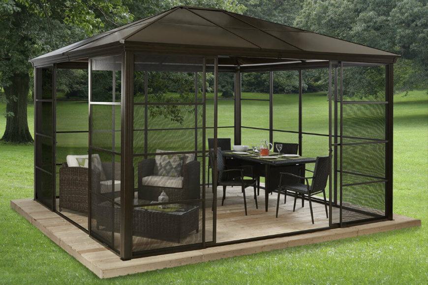 This gazebo has retractable screen sliders that can be opened and closed with ease. It is an alternative to both the stationary screen walls as well as the curtains. It strikes a nice balance between sturdiness and mobility.