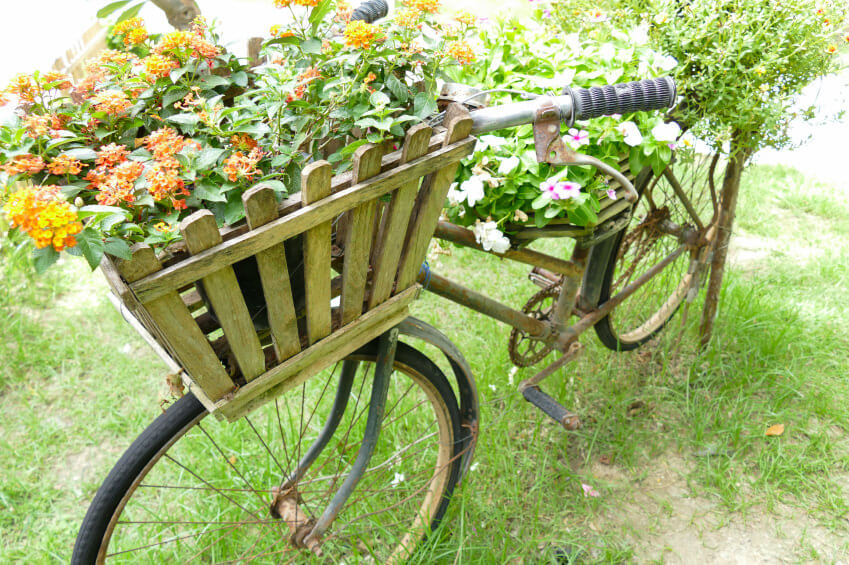 Bicycle planter with custom large wood planter on the front.