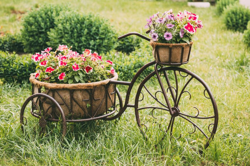 This is a tricycle sculpture holding a large flower arrangement.