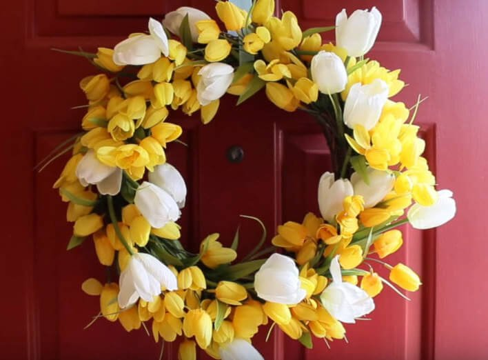 DIY yellow and white flower Spring front door wreath