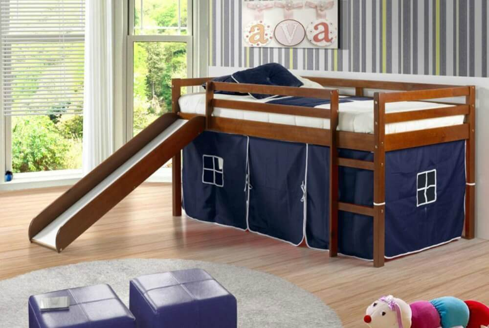 Kids have the ultimate choice of taking the stairs or the slide. They can also plan all sorts of adventures in the tent below the bed. Plus, the tent comes in the color of your choice.