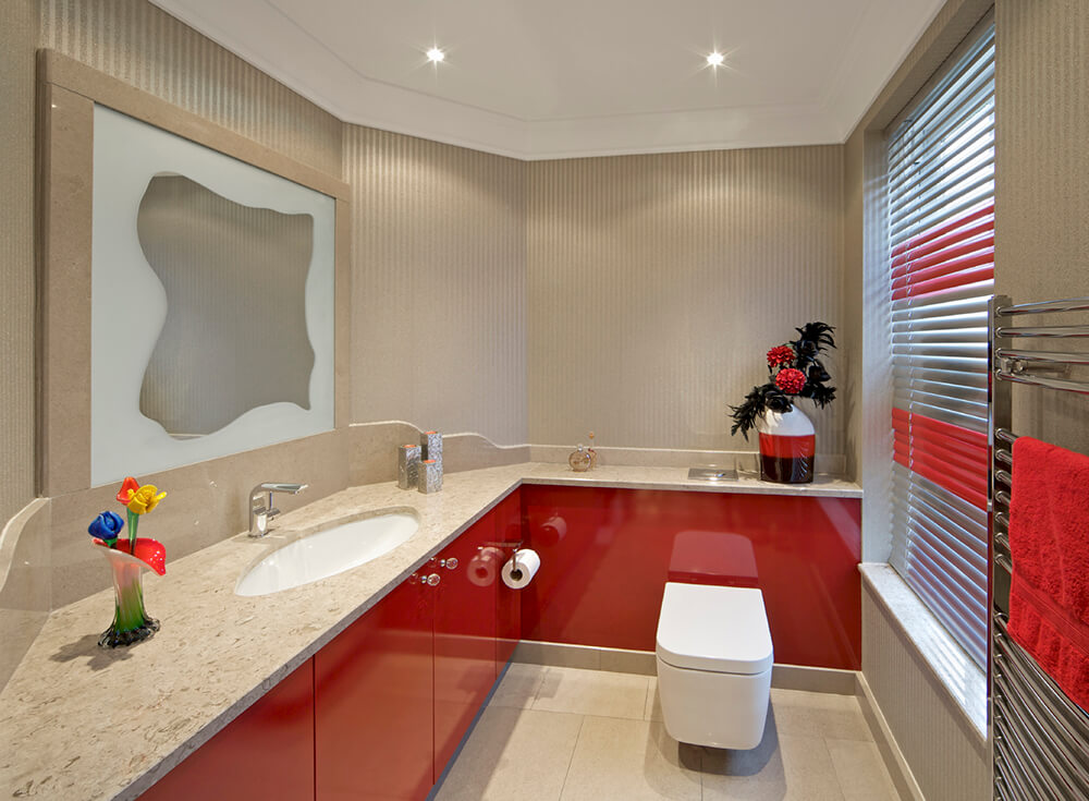 Modern Bathroom in Bold Primary Red