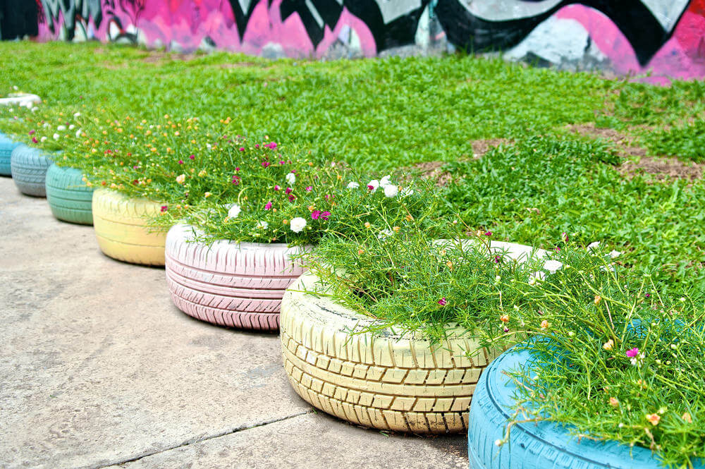 Here's a clever use of tire planters lining a walkway.