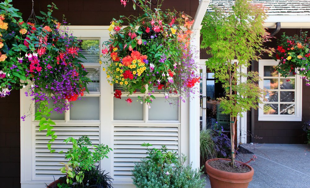 Wonderful example of how hanging flower pots can really dress up the space around the home.