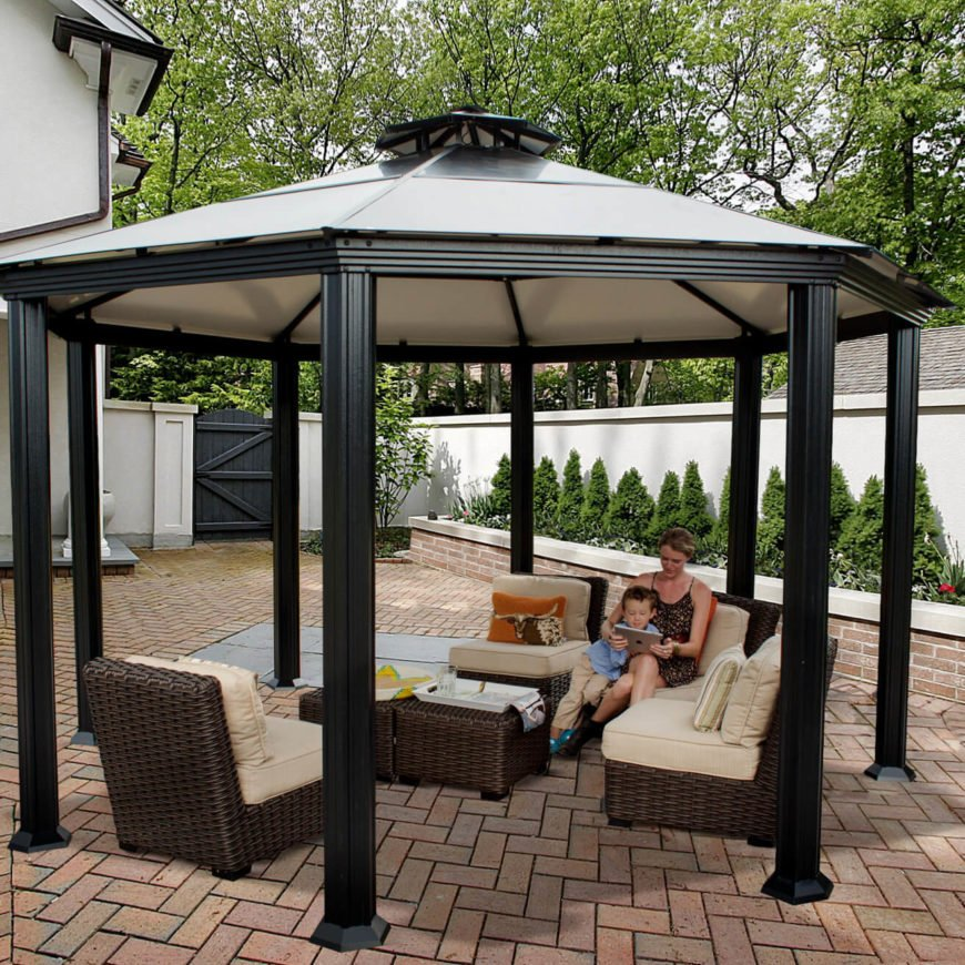 Here is a shady octagonal gazebo that can be placed over any set of patio furniture making it a great place for you and your family to hang out and enjoy your backyard space.