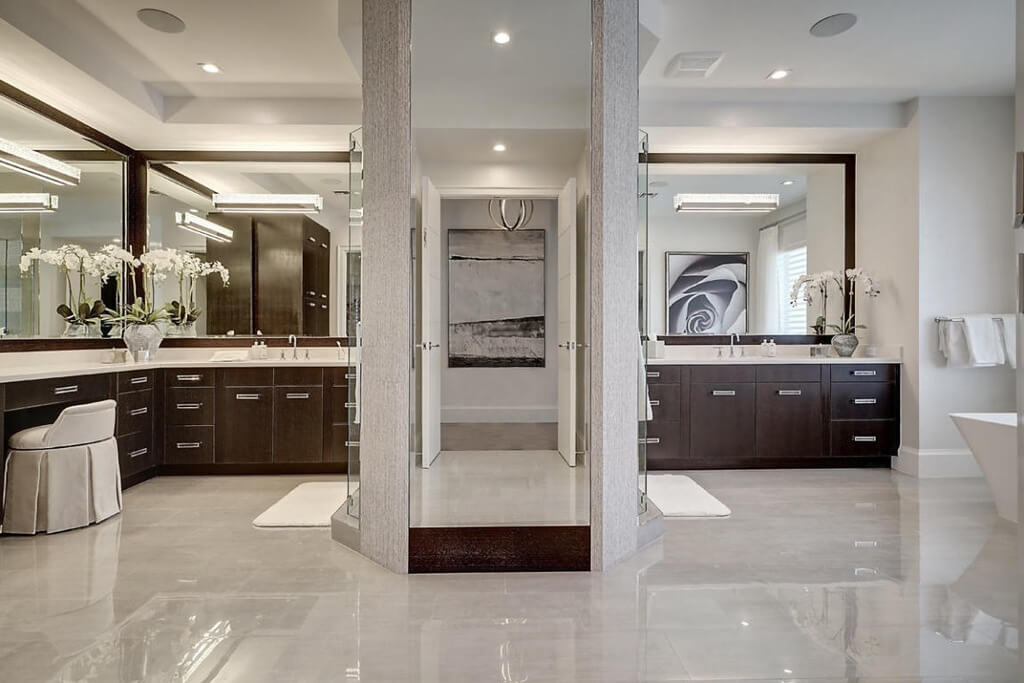 Bathroom and Dressing Room with Center Shower