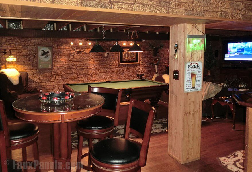 For those looking for a rustic aesthetic in a man cave, look no further. Faux stone has the delightful effect of rustic masculinity and is still so classic.