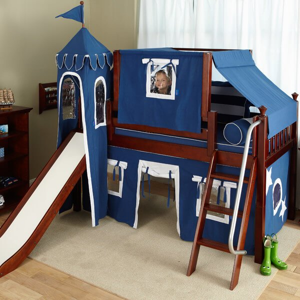 Your little boy will feel like a real prince in his castle-like loft bed. You can also conveniently arrange the high, mid, and low loft beds according to available bedroom space.