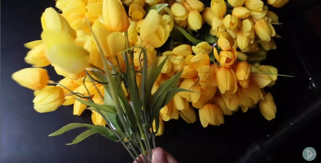 Yellow flowers for front door Spring wreath