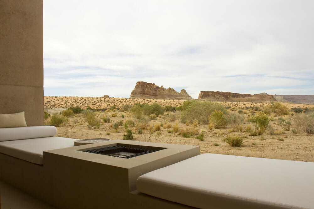 Built-in Square gas fuelled fire pit on a small balcony overlooking the desert.
