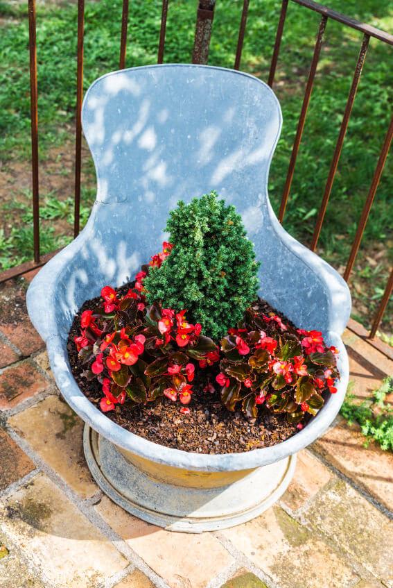 Here's an iron bowl serving as a flower pot on a deck.