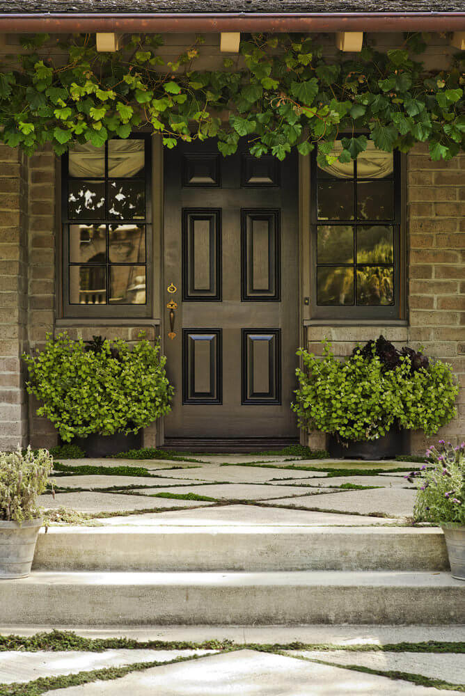 Clinging up the beam looks like a grapevine and below are potted greenery symmetrically placed on the door's corners.
