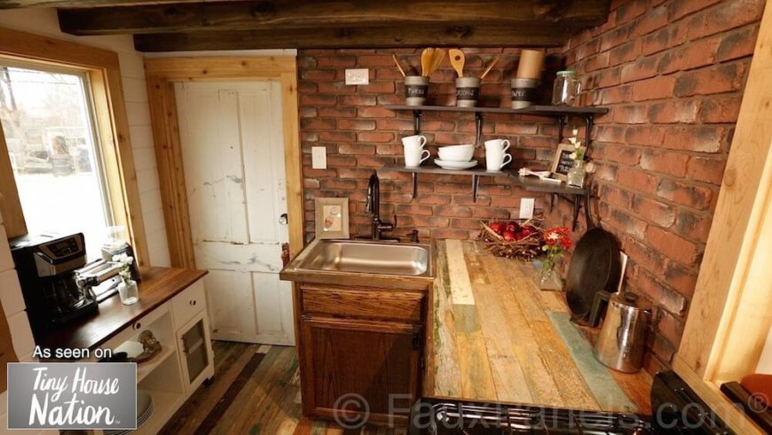 Brick is a popular choice for farmhouse and industrial style homes, but unless the brick was already existing, it can get expensive to tear down a kitchen just to build up brick walls. Faux brick paneling is the perfect solution to get the look with none of the hassle.