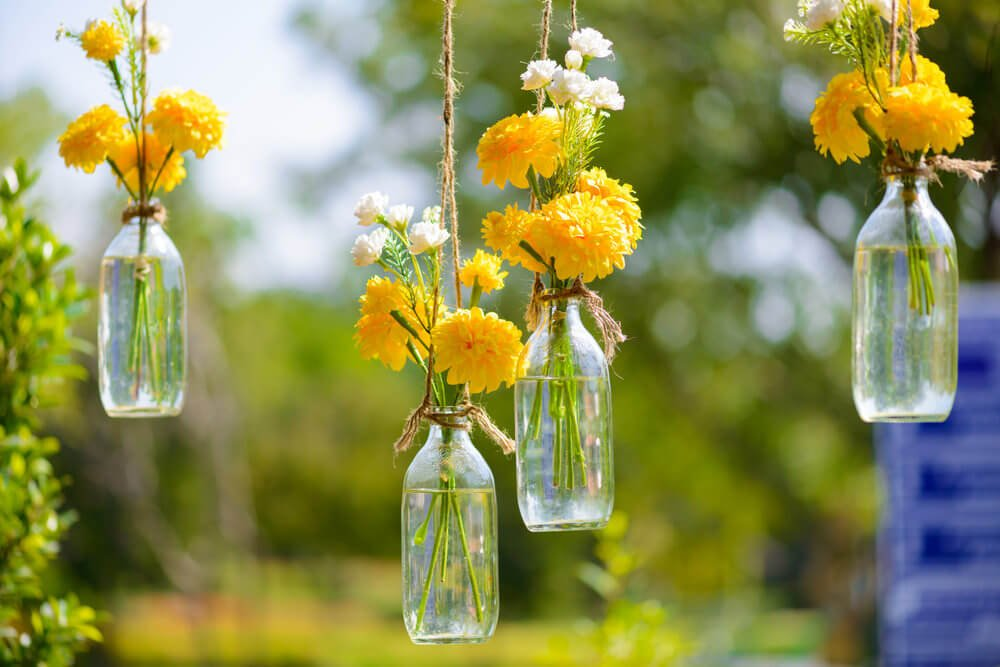 Glass jars used to hold small yellow and white flower bouquets.