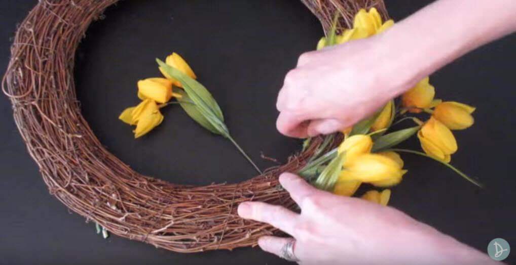 Insert Flowers into Branch Wreath